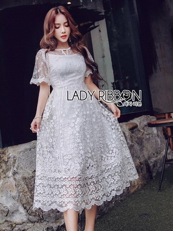 Lady Meredith Delicate Little Flower White Lace Dress