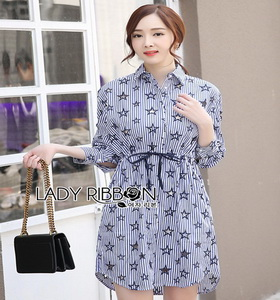 Lady Ribbon Cotton Shirt Dress เชิ้ตเดรส
