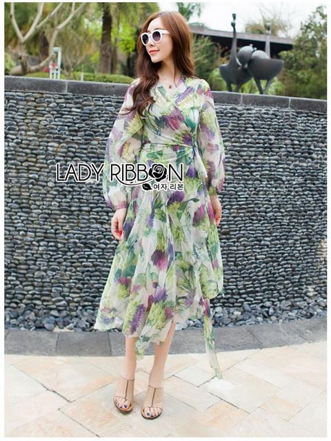 Lady Ribbon Silk Wrap Dress ขายเดรสผ้าชิลค์