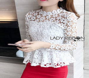 Lady Ribbon Julia White Flower Embroidered Lace Peplum Blouse