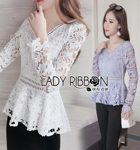 Lady Ribbon Pastel Guipure Blouse