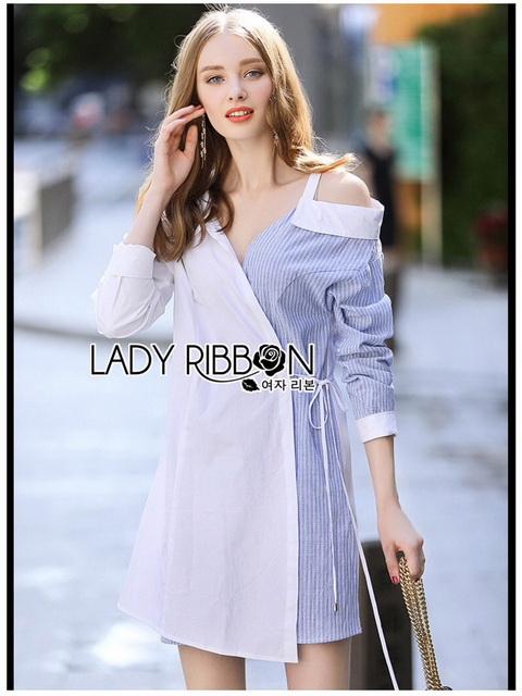 Shirt Dress Lady Ribbon ขายเชิ้ตเดรส