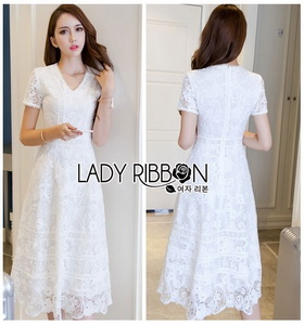 Lady Karen Sweet Feminine Pure White Lace Dress