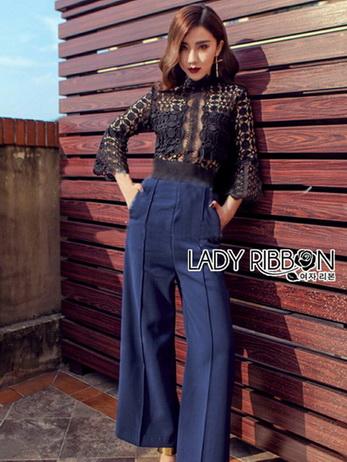 Black Lace and Electric Blue Jumpsuit