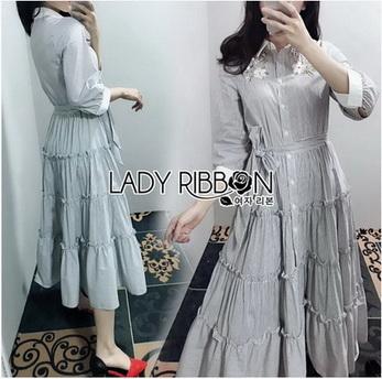 Shirt Dress with Ribbon เชิ้ตเดรสลายทางปักลาย