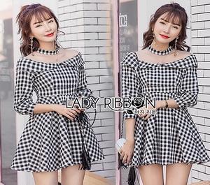 Lady Ribbon Black & White Checked Cotton Dress