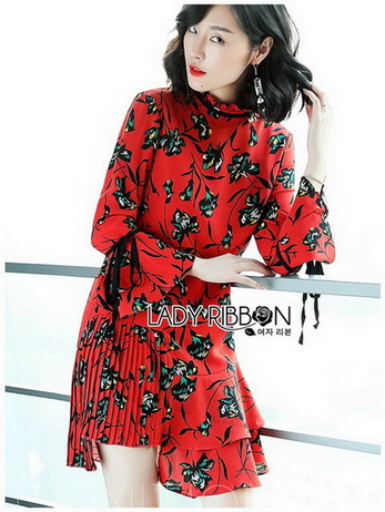 Lady Floral Printed Red Pleated Dress