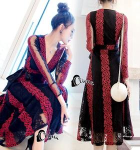 Lace Dress เดรสยาวลูกไม้นิ่มแดงดำ