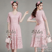 ST09310716 &#x1F340สินค้าพร้อมส่ง&#x1F340 한국에 의해 설계된 2sister made, Pink Sweet Essential Flora Vintage Dress