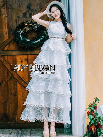 Lady Erin Sweet Layered White Lace Dress