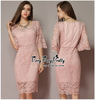 Lady Ribbon Online เสื้อผ้าออนไลน์ขายส่ง very very pretty เสื้อผ้า VP03140816 Luxury Vintage embroidered Flowers Lace Dress
