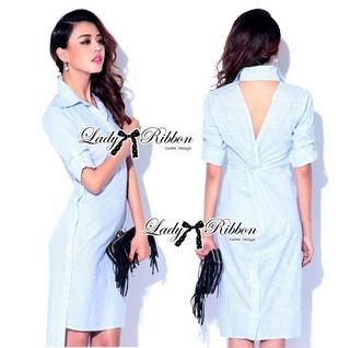 Lady Ribbon Online ขายส่งเสื้อผ้าออนไลน์ Lady Ribbon LR03040816 &#x1F380 Lady Ribbon's Made &#x1F380 Lady Lilly Chinoise Chic Backless Shirt Dress
