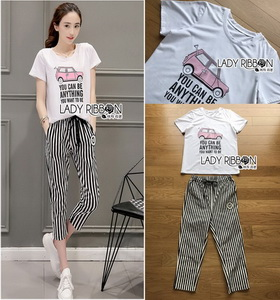T-Shirt and Lady Ribbon Striped Pants Set