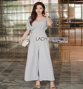 Lady Ribbon Pale-Grey Jumpsuit จัมป์สูทขายาว