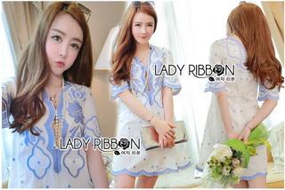 Blue and White Embroidered Dress เดรสปักและตกแต่งลายสีฟ้า-