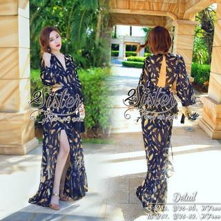 2Sister Made, Beauty Sexy Girly Korea Maxi Dress แม็กซี่เดรสสไตล์แบรนด์ดัง ลุคเซ็กซี่นิดๆ
