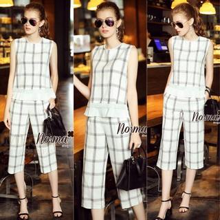 Lady Ribbon Online เสื้อผ้าออนไลน์ขายส่ง Normal Ally เสื้อผ้า NA12180816 &#x1F389Normal Ally Present casual summer scoth set&#x1F389 (เสื้อ + กางเกง , มีซับใน)