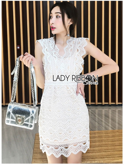 Lady Ribbon Dress with Beige Lining เดรสผ้าลูกไม้สีขาว