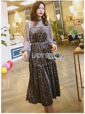 Star Printed Velvet Lady Ribbon Dress