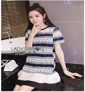 Lady Ribbon Black & White Dress เดรสสีขาว-ดำ