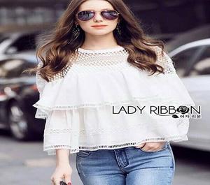 Lady Ribbon Lady Janet Lace and Cotton Blouse