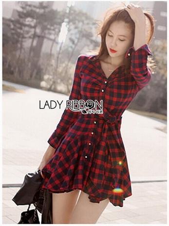 Red Tartan Ruffle Lady Ribbon Shirt Dress