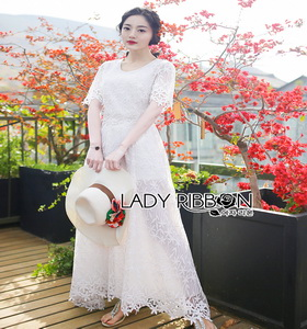 Lady Ribbon Summer Casual Basic White Lace Maxi Dress