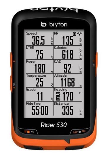 ไมล์จักรยานระบบ GPS Bryton Rider 530
