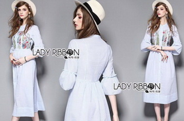 Lady Ribbon Striped Cotton Dress