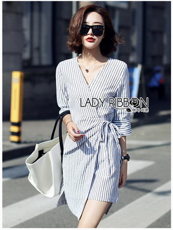 Chic Lady Ribbon Striped Cotton Kimono Dress