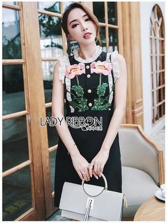 Black Dress Lady Ribbon เดรสผ้าเครปสีดำ