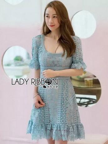 Blue Lace Dress เดรสสั้นผ้าลูกไม้สีฟ้า