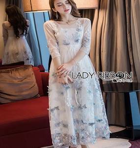 Lady Ribbon Embroidered Tulle Maxi Dress