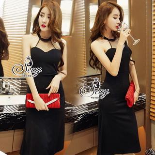Lady Ribbon Online ขายส่งเสื้อผ้าออนไลน์ เสื้อผ้า Sevy SV13030816 &#x1F389Sevy Sexy See-through Mesh Round Neck Dress