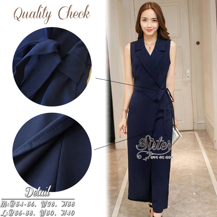 Beauty Navy Elegant Lady Jumpsuit