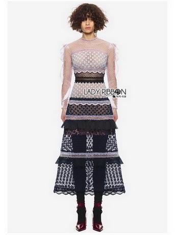 Lady Luna Ruffle Mixed Lace Long Dress