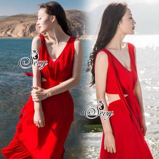 Sevy Ribbon Shoulder Sexy Waist Back Red Hot Maxi Dress