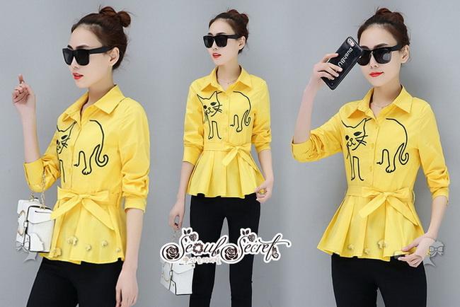 เสื้อเชิ้ทแขนยาวเนื้อผ้าคอตตอนโทนสีเหลืองสว่าง