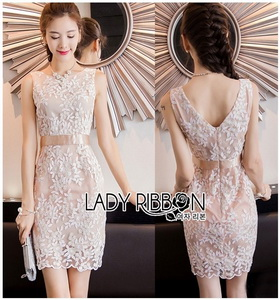 Lady Ribbon Nasha Basic Elegant Pale Pink-Nude Lace Dress