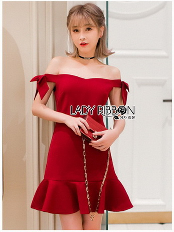 Color Ribbon Mini Peplum Dress