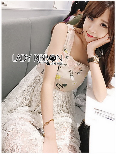 Cotton with Lady Ribbon Lace Dress