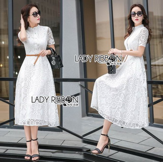 LR10290816 &#x1F380 Lady Ribbon's Made &#x1F380 Lady Leslie Modern Feminine Lace Shirt Maxi Dress