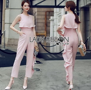 Lady Heidi Minimal Chic Ruffle Baby Pink Jumpsuit