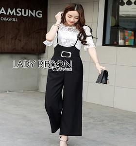 Lady Ribbon Jumpsuit with Belt Set เซ็ตเสื้อลูกไม้
