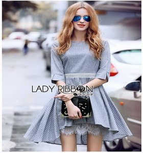 Lady Ribbon Check Cotton Dress with Lace Lining