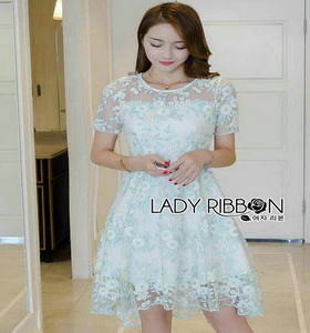 Grace Pastel Flower Lace Dress Lady Ribbon เดรสผ้าลูกไม้