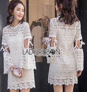 Lady Ribbon ขายส่ง White Lace Dress