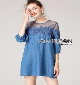 Denim Lady Ribbon Mini Dress มินิเดรส