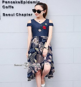 ชุดเดรสยาวเกาหลีกระโปงผ้าชีฟอง
