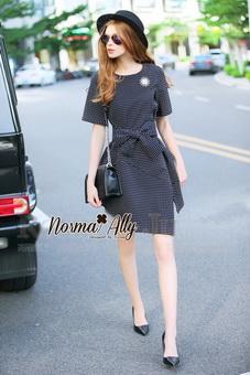 Lady Ribbon Online เสื้อผ้าออนไลน์ขายส่ง Normal Ally เสื้อผ้า,NA13220816 &#x1F389Normal Ally Present Boutique new autumn collection dress and Dimond and pearl brooch&#x1F389 (เดรส + เข็มกลัดเพชรเกสรไข่มุก, มีซับในอย่างดี, มีเชือกเข็มขัด)